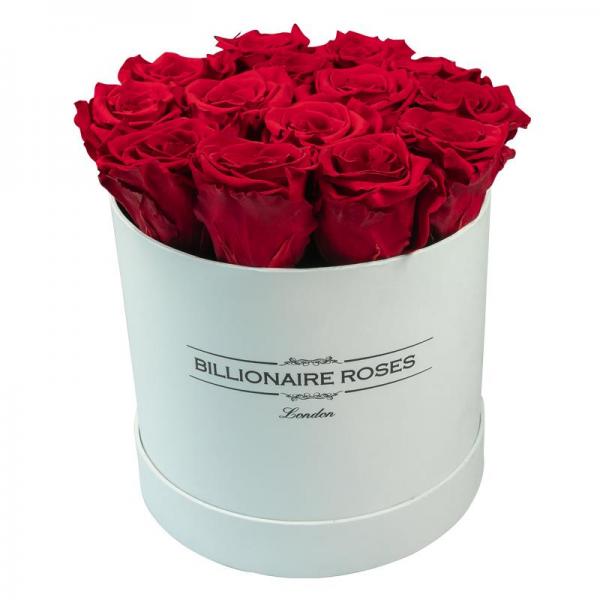 Yuvarlak Solmayan Beyaz Kutu Gül Billionaire Roses