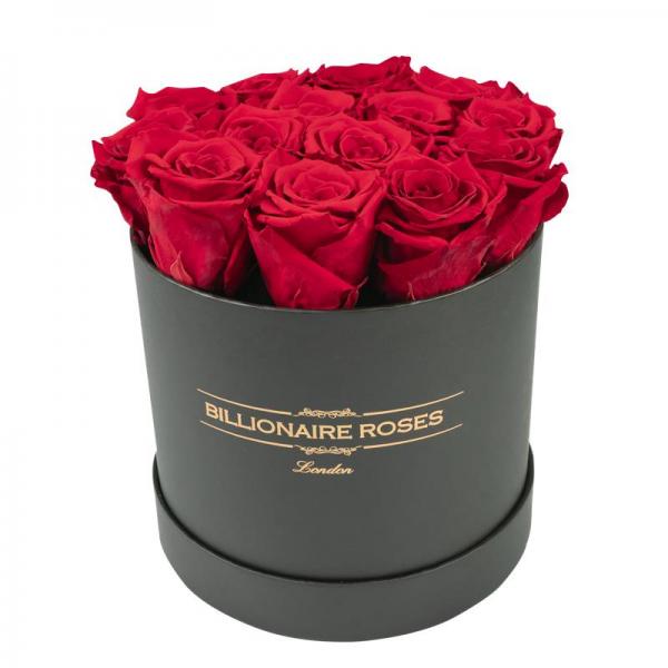 Yuvarlak Solmayan Siyah Kutu Gül Billionaire Roses