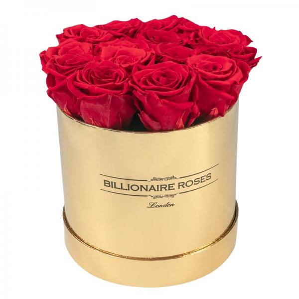 Yuvarlak Solmayan Gold Kutu Gül Billionaire Roses