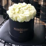 Yuvarlak Siyah Kutu Beyaz Gül Klasik