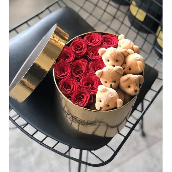 Teddy & Roses Gold Box